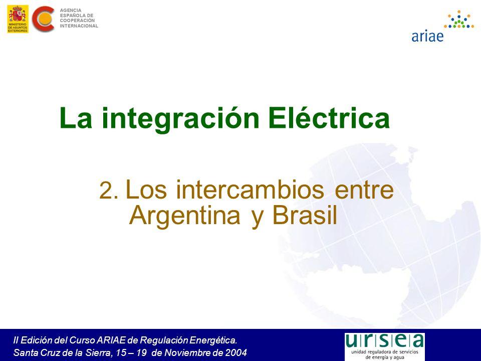 II Edición del Curso ARIAE de Regulación Energética. Santa Cruz de la Sierra, 15 – 19 de Noviembre de 2004 La integración Eléctrica 2. Los intercambio