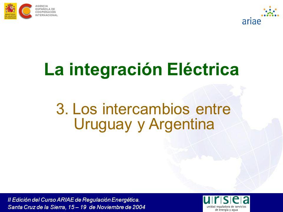 II Edición del Curso ARIAE de Regulación Energética. Santa Cruz de la Sierra, 15 – 19 de Noviembre de 2004 La integración Eléctrica 3. Los intercambio
