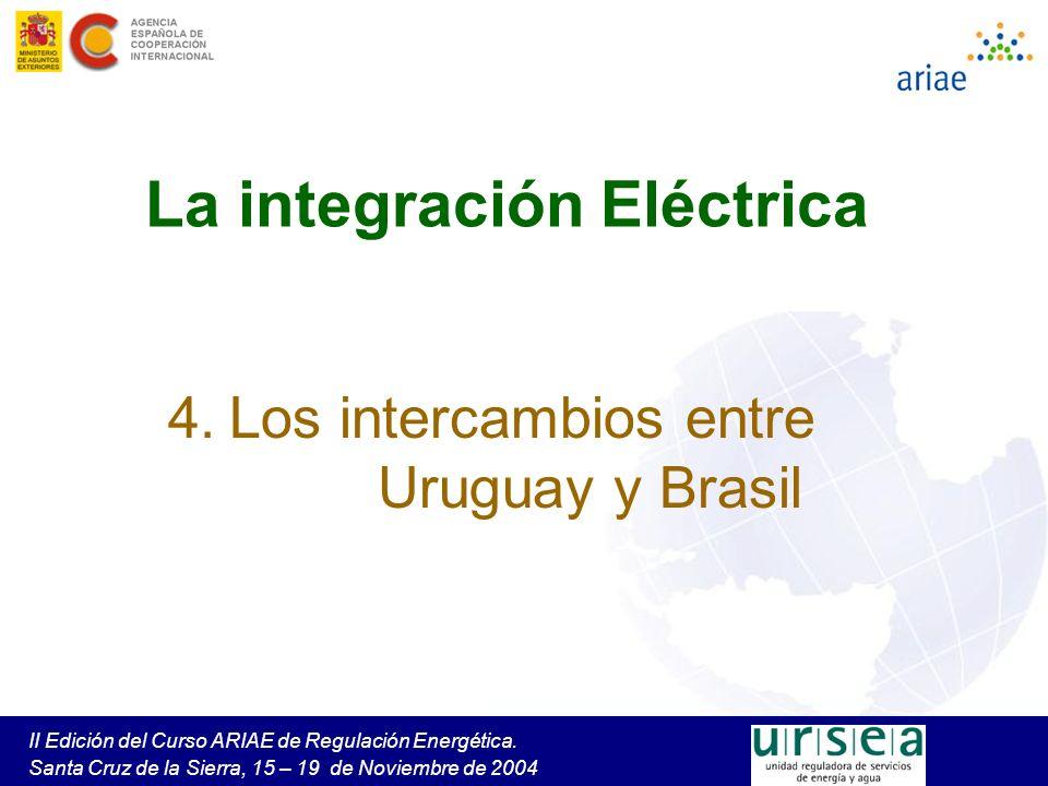 II Edición del Curso ARIAE de Regulación Energética. Santa Cruz de la Sierra, 15 – 19 de Noviembre de 2004 La integración Eléctrica 4. Los intercambio