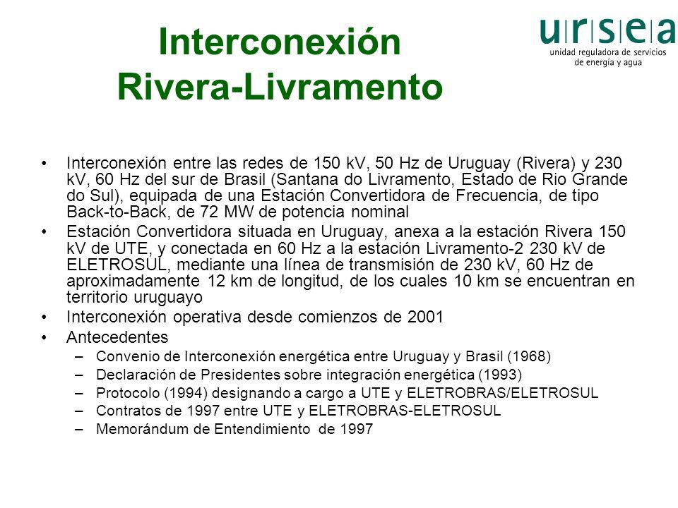 Interconexión Rivera-Livramento Interconexión entre las redes de 150 kV, 50 Hz de Uruguay (Rivera) y 230 kV, 60 Hz del sur de Brasil (Santana do Livra