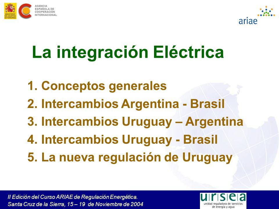 La importación por contrato A partir de las Notas Reversales de 1997, Uruguay realiza contratos de importación de largo plazo con UTE como comprador y empresas argentinas como vendedoras Son contratos de respaldo (Potencia firme y energía asociada), con –cargos fijos, según lo que los generadores cobrarían en el MEM argentino en caso de no haber contratado en firme su potencia para la exportación –cargos variables, según precio spot del MEM, con un overhead En el año 2000 se realizaron contratos por 365 MW con los generadores Central Puerto, Piedra del Águila y San Nicolás Esos contratos fueron terminados en 2002, luego del Decreto 1491/02 de Argentino que estableció la paridad peso = dólar para los contratos vigentes de exportación.
