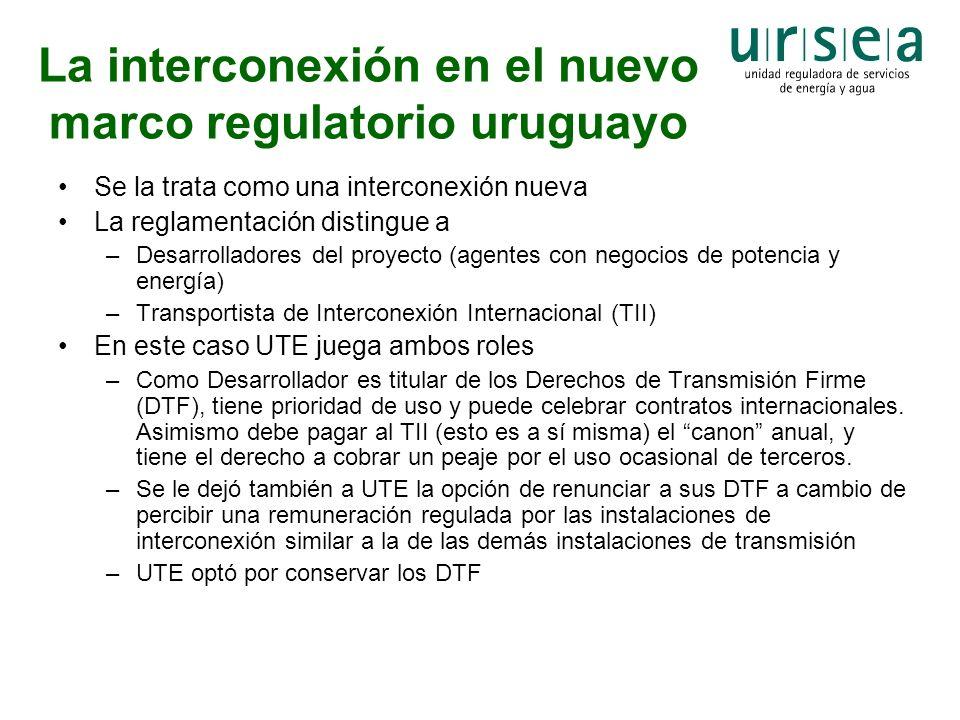 La interconexión en el nuevo marco regulatorio uruguayo Se la trata como una interconexión nueva La reglamentación distingue a –Desarrolladores del pr