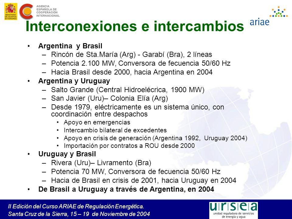 II Edición del Curso ARIAE de Regulación Energética. Santa Cruz de la Sierra, 15 – 19 de Noviembre de 2004 Interconexiones e intercambios Argentina y