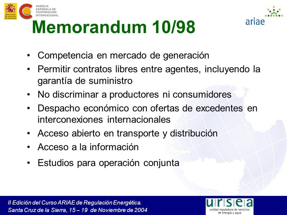 II Edición del Curso ARIAE de Regulación Energética. Santa Cruz de la Sierra, 15 – 19 de Noviembre de 2004 Memorandum 10/98 Competencia en mercado de
