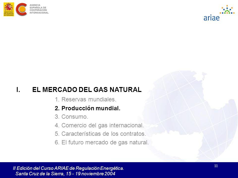 11 II Edición del Curso ARIAE de Regulación Energética. Santa Cruz de la Sierra, 15 - 19 noviembre 2004 I.EL MERCADO DEL GAS NATURAL 1. Reservas mundi