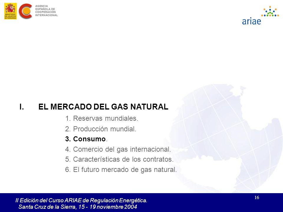 16 II Edición del Curso ARIAE de Regulación Energética. Santa Cruz de la Sierra, 15 - 19 noviembre 2004 I.EL MERCADO DEL GAS NATURAL 1. Reservas mundi