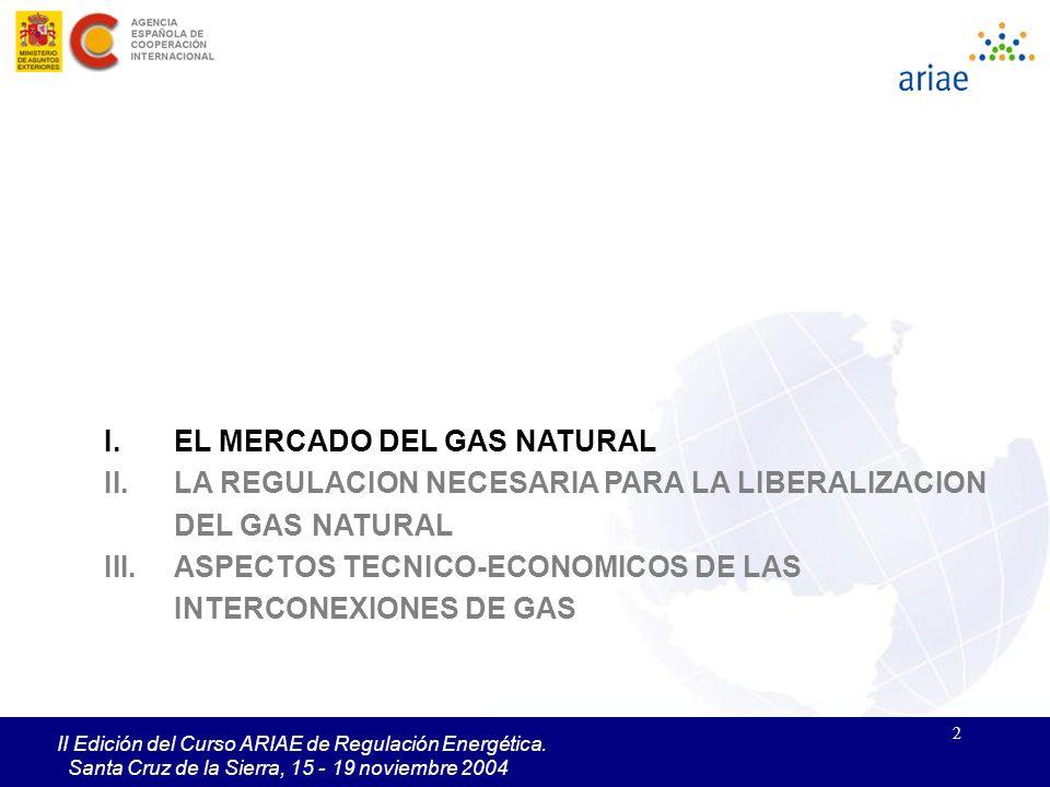 2 II Edición del Curso ARIAE de Regulación Energética. Santa Cruz de la Sierra, 15 - 19 noviembre 2004 I.EL MERCADO DEL GAS NATURAL II.LA REGULACION N