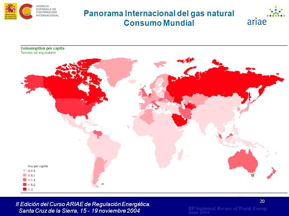 20 II Edición del Curso ARIAE de Regulación Energética. Santa Cruz de la Sierra, 15 - 19 noviembre 2004 Panorama Internacional del gas natural Consumo