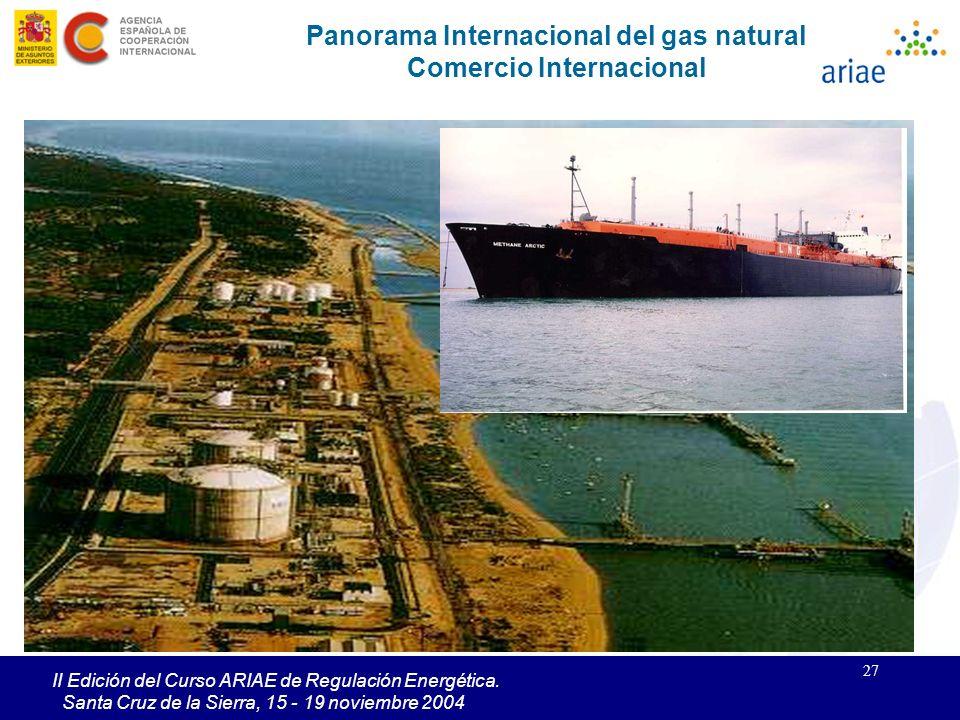 27 II Edición del Curso ARIAE de Regulación Energética. Santa Cruz de la Sierra, 15 - 19 noviembre 2004 Panorama Internacional del gas natural Comerci