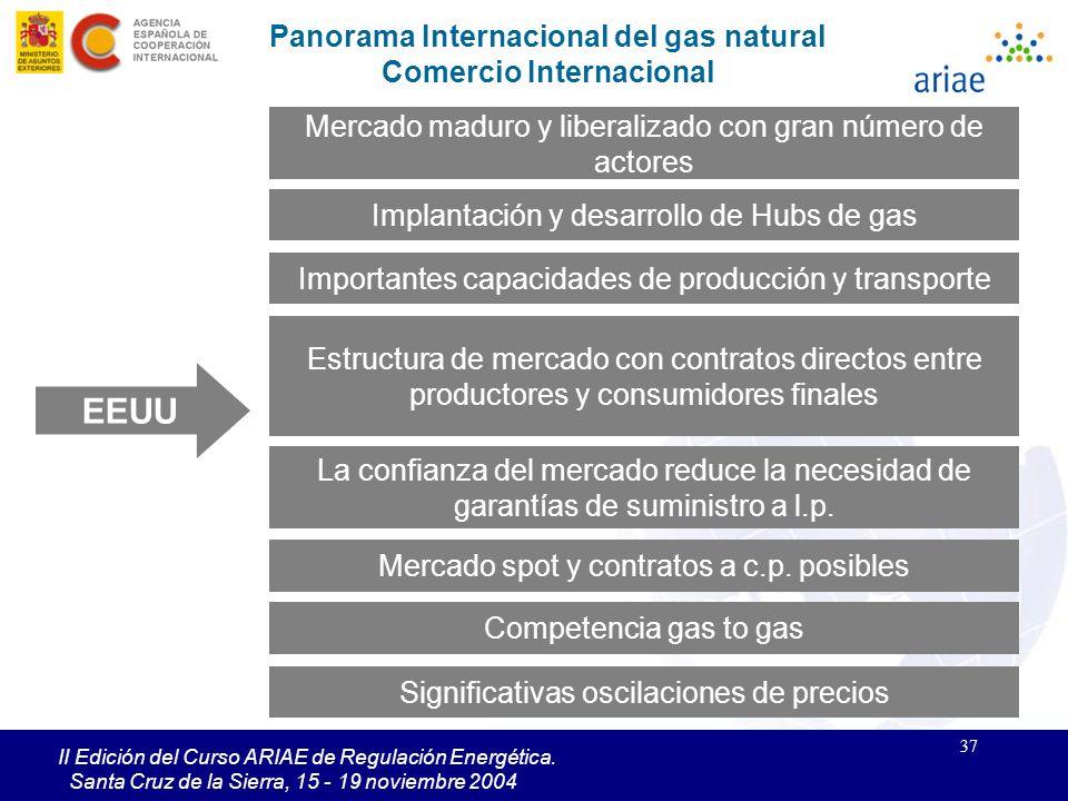 37 II Edición del Curso ARIAE de Regulación Energética. Santa Cruz de la Sierra, 15 - 19 noviembre 2004 Panorama Internacional del gas natural Comerci