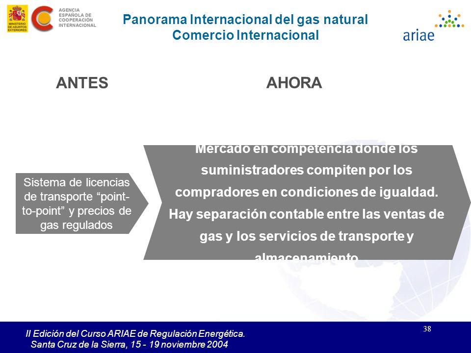 38 II Edición del Curso ARIAE de Regulación Energética. Santa Cruz de la Sierra, 15 - 19 noviembre 2004 Panorama Internacional del gas natural Comerci