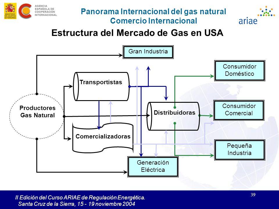 39 II Edición del Curso ARIAE de Regulación Energética. Santa Cruz de la Sierra, 15 - 19 noviembre 2004 Panorama Internacional del gas natural Comerci