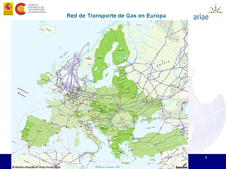 4 II Edición del Curso ARIAE de Regulación Energética. Santa Cruz de la Sierra, 15 - 19 noviembre 2004 Red de Transporte de Gas en Europa
