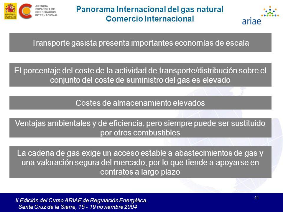 41 II Edición del Curso ARIAE de Regulación Energética. Santa Cruz de la Sierra, 15 - 19 noviembre 2004 Transporte gasista presenta importantes econom