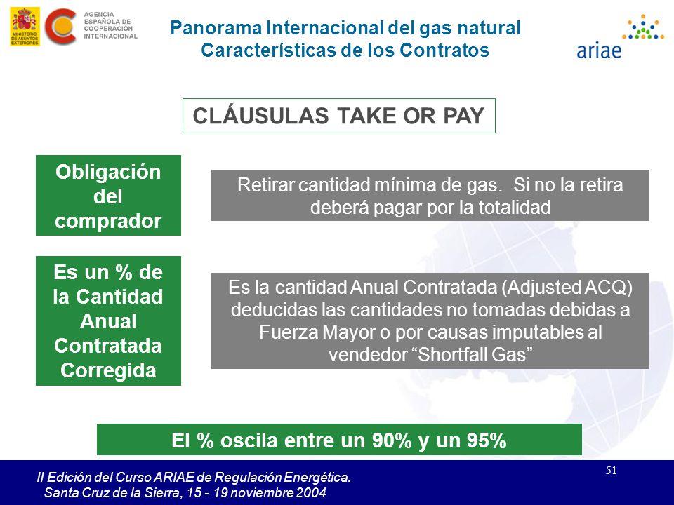 51 II Edición del Curso ARIAE de Regulación Energética. Santa Cruz de la Sierra, 15 - 19 noviembre 2004 Panorama Internacional del gas natural Caracte