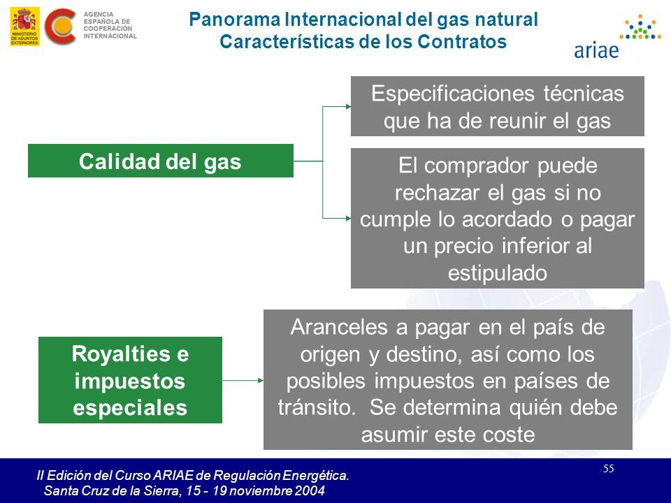 55 II Edición del Curso ARIAE de Regulación Energética. Santa Cruz de la Sierra, 15 - 19 noviembre 2004 Panorama Internacional del gas natural Caracte