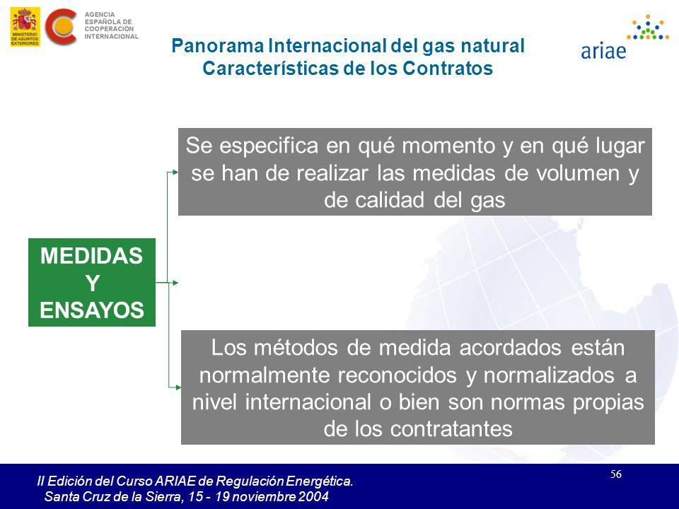 56 II Edición del Curso ARIAE de Regulación Energética. Santa Cruz de la Sierra, 15 - 19 noviembre 2004 MEDIDAS Y ENSAYOS Panorama Internacional del g