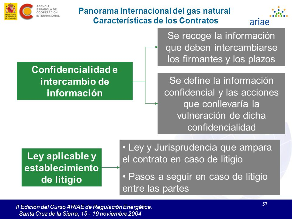 57 II Edición del Curso ARIAE de Regulación Energética. Santa Cruz de la Sierra, 15 - 19 noviembre 2004 Panorama Internacional del gas natural Caracte
