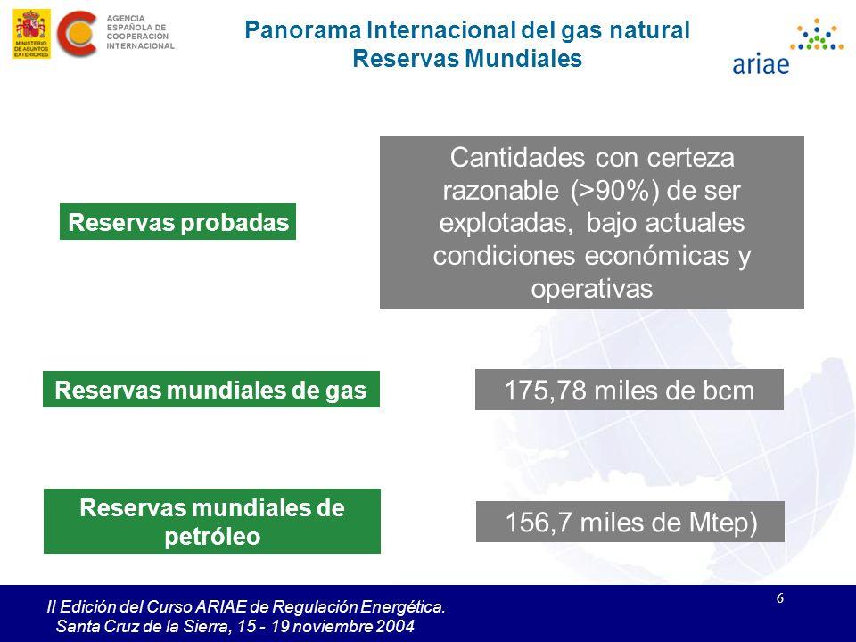 6 II Edición del Curso ARIAE de Regulación Energética. Santa Cruz de la Sierra, 15 - 19 noviembre 2004 Panorama Internacional del gas natural Reservas