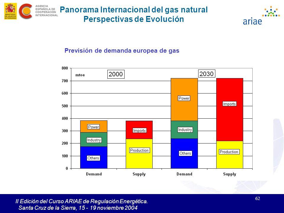 62 II Edición del Curso ARIAE de Regulación Energética. Santa Cruz de la Sierra, 15 - 19 noviembre 2004 Panorama Internacional del gas natural Perspec