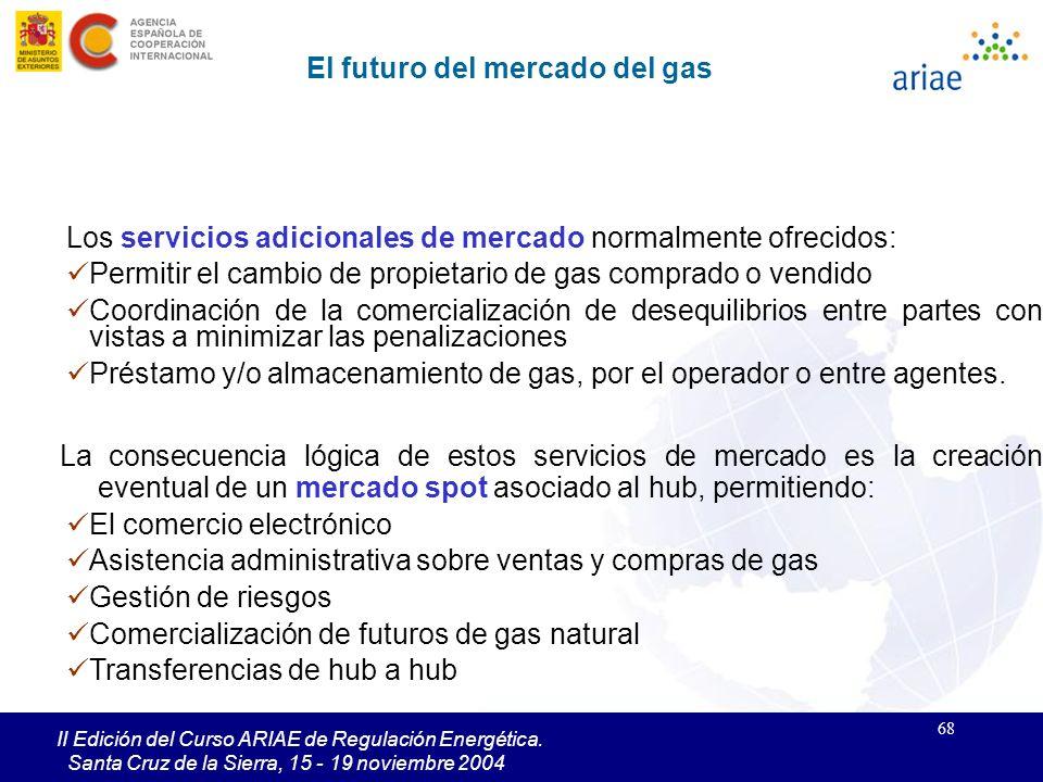 68 II Edición del Curso ARIAE de Regulación Energética. Santa Cruz de la Sierra, 15 - 19 noviembre 2004 Los servicios adicionales de mercado normalmen