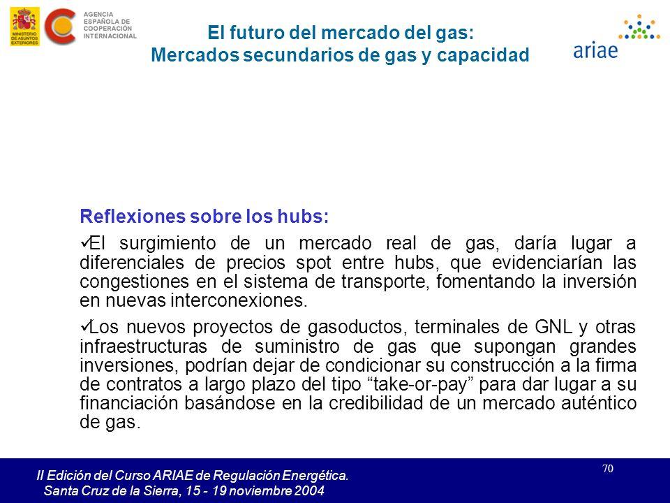70 II Edición del Curso ARIAE de Regulación Energética. Santa Cruz de la Sierra, 15 - 19 noviembre 2004 Reflexiones sobre los hubs: El surgimiento de