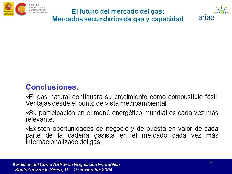 72 II Edición del Curso ARIAE de Regulación Energética. Santa Cruz de la Sierra, 15 - 19 noviembre 2004 Conclusiones. El gas natural continuará su cre