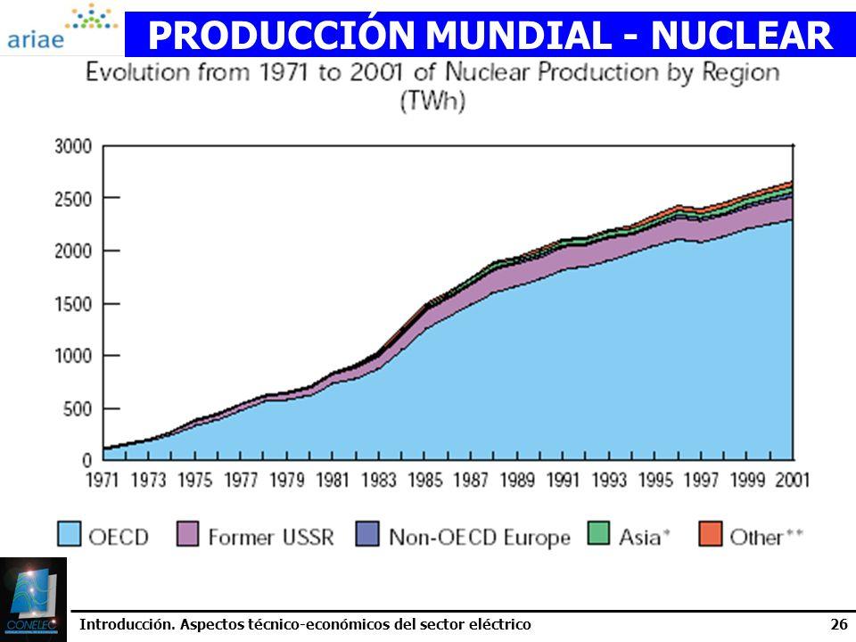 Introducción. Aspectos técnico-económicos del sector eléctrico26 PRODUCCIÓN MUNDIAL - NUCLEAR