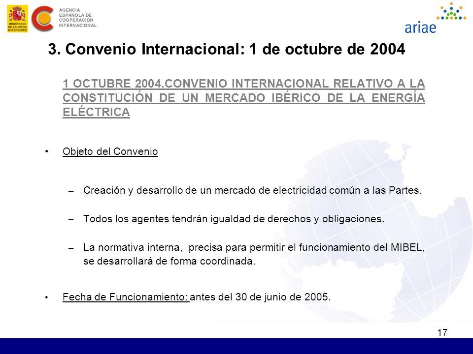 17 1 OCTUBRE 2004.CONVENIO INTERNACIONAL RELATIVO A LA CONSTITUCIÓN DE UN MERCADO IBÉRICO DE LA ENERGÍA ELÉCTRICA Objeto del Convenio – Creación y desarrollo de un mercado de electricidad común a las Partes.