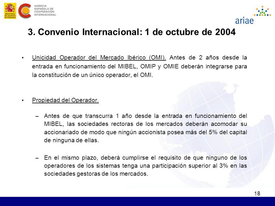 18 Unicidad Operador del Mercado Ibérico (OMI). Antes de 2 años desde la entrada en funcionamiento del MIBEL, OMIP y OMIE deberán integrarse para la c