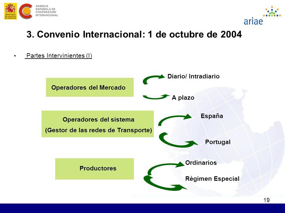 19 Operadores del Mercado Operadores del sistema (Gestor de las redes de Transporte) Productores Diario/ Intradiario A plazo España Portugal Ordinario