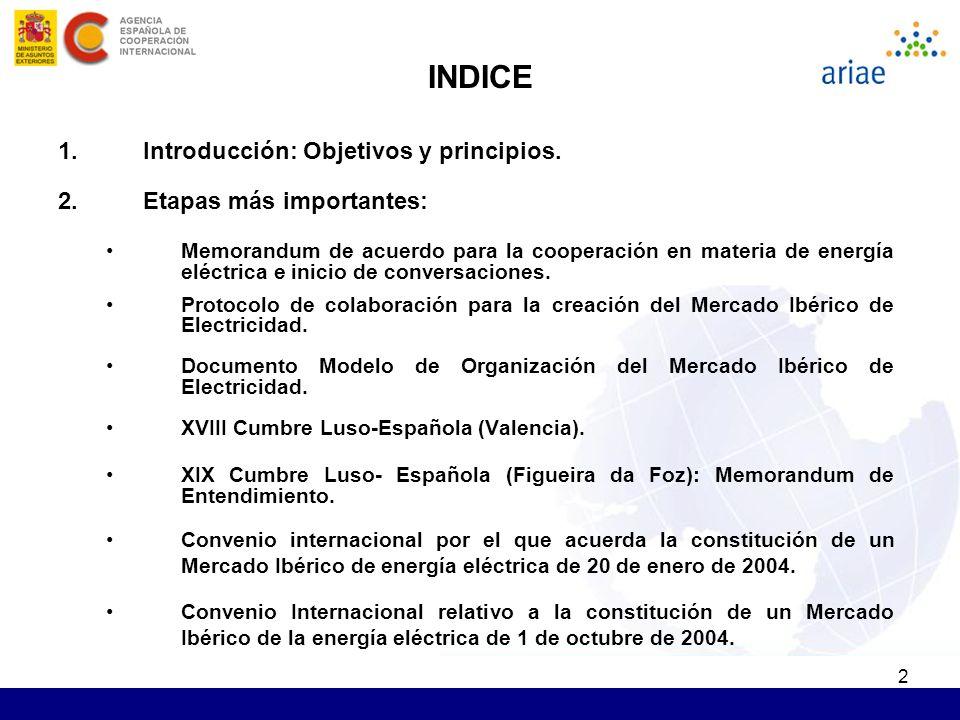2 INDICE 1.Introducción: Objetivos y principios. 2.Etapas más importantes: Memorandum de acuerdo para la cooperación en materia de energía eléctrica e