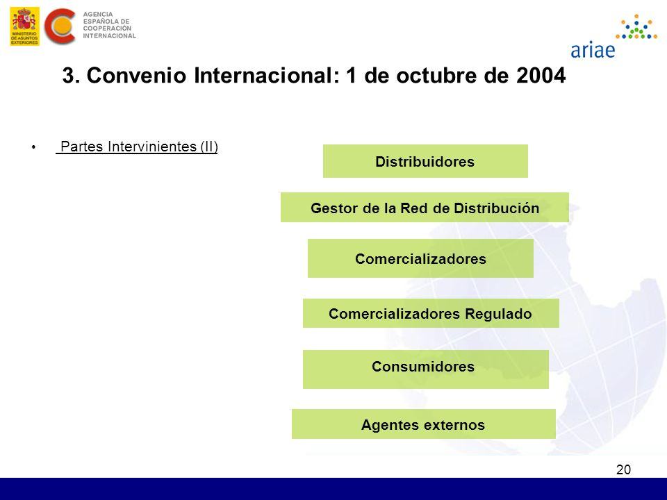 20 Comercializadores Agentes externos Consumidores Distribuidores Partes Intervinientes (II) Comercializadores Regulado Gestor de la Red de Distribución 3.