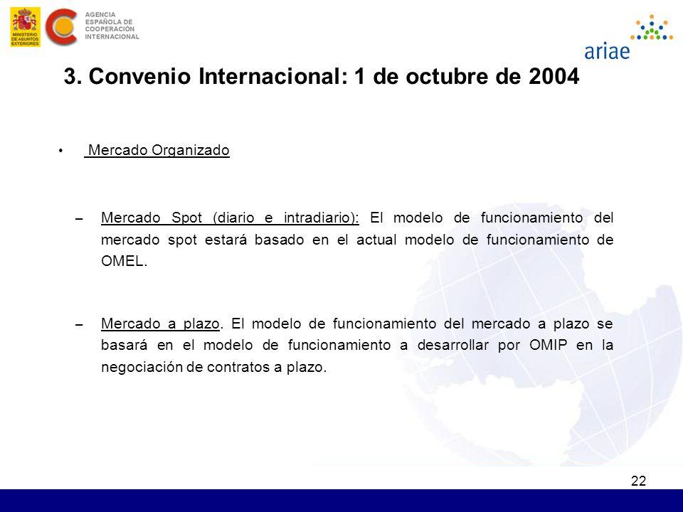 22 Mercado Organizado – Mercado Spot (diario e intradiario): El modelo de funcionamiento del mercado spot estará basado en el actual modelo de funcionamiento de OMEL.