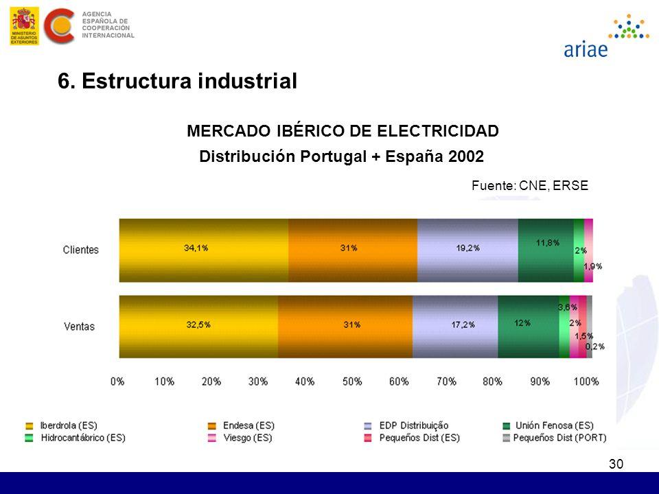 30 6. Estructura industrial Fuente: CNE, ERSE Distribución Portugal + España 2002 MERCADO IBÉRICO DE ELECTRICIDAD