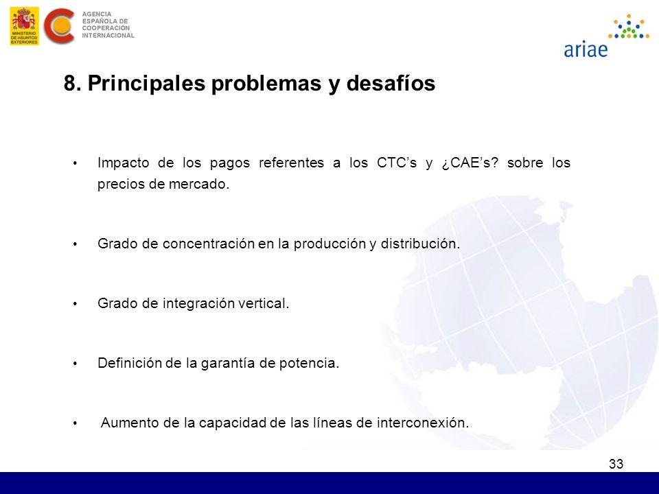 33 8. Principales problemas y desafíos Impacto de los pagos referentes a los CTCs y ¿CAEs? sobre los precios de mercado. Grado de concentración en la