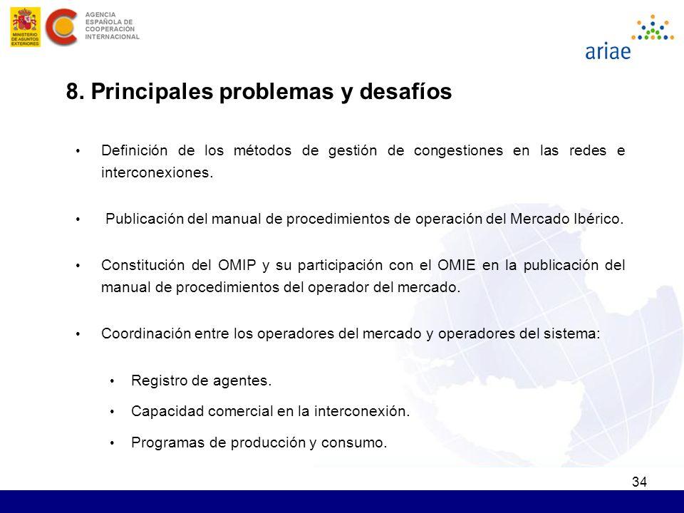 34 8. Principales problemas y desafíos Definición de los métodos de gestión de congestiones en las redes e interconexiones. Publicación del manual de