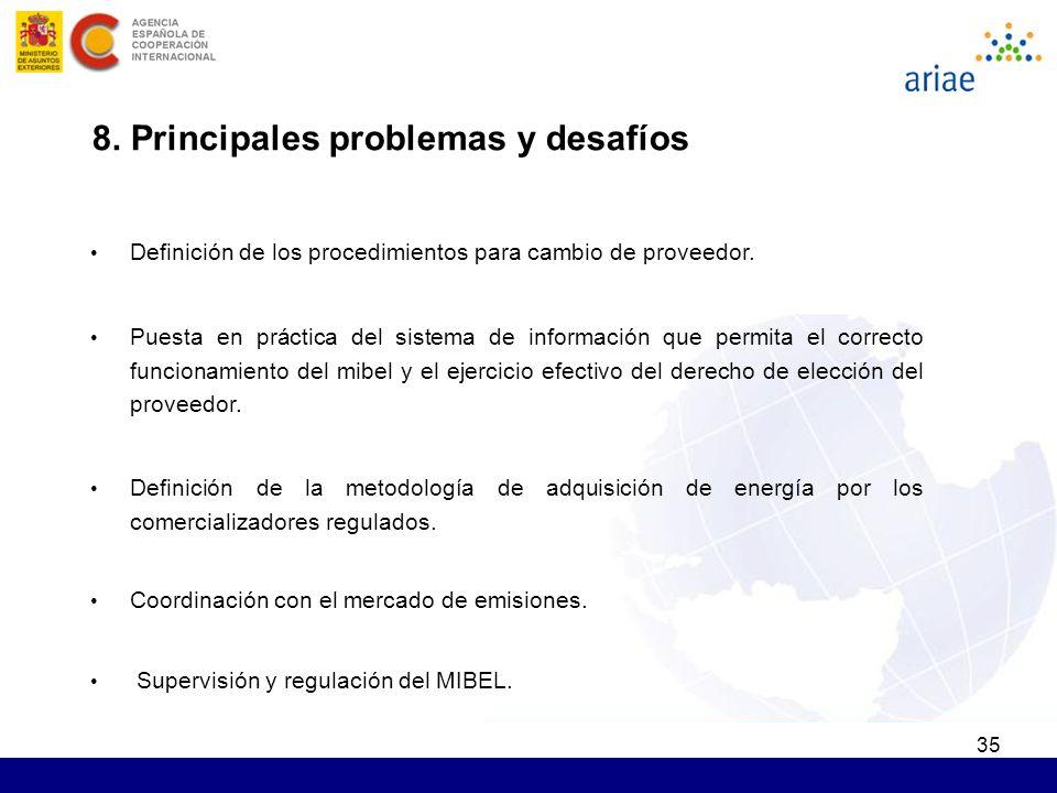 35 8. Principales problemas y desafíos Definición de los procedimientos para cambio de proveedor.