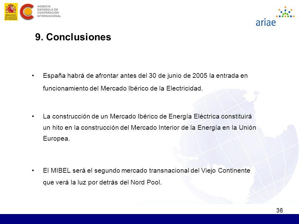 36 España habrá de afrontar antes del 30 de junio de 2005 la entrada en funcionamiento del Mercado Ibérico de la Electricidad. La construcción de un M