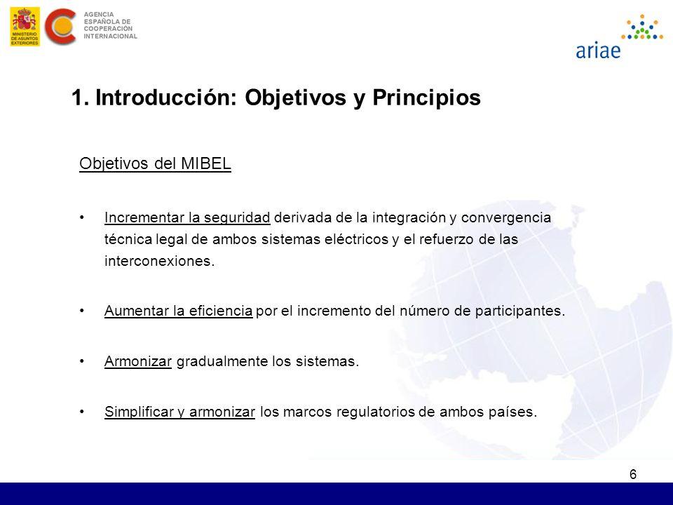 6 1. Introducción: Objetivos y Principios Objetivos del MIBEL Incrementar la seguridad derivada de la integración y convergencia técnica legal de ambo
