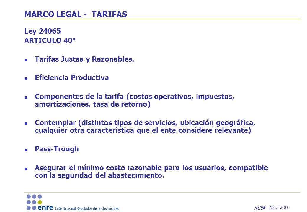 JCM – Nov. 2003 MARCO LEGAL - TARIFAS Ley 24065 ARTICULO 40° Tarifas Justas y Razonables. Eficiencia Productiva Componentes de la tarifa (costos opera