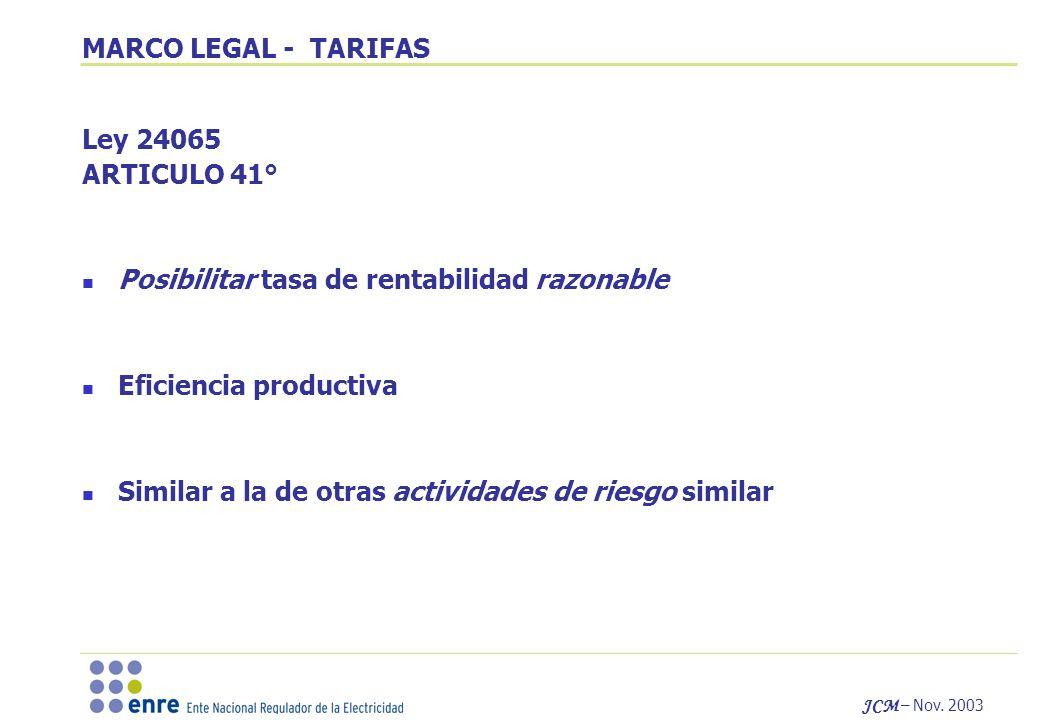 JCM – Nov. 2003 MARCO LEGAL - TARIFAS Ley 24065 ARTICULO 41° Posibilitar tasa de rentabilidad razonable Eficiencia productiva Similar a la de otras ac