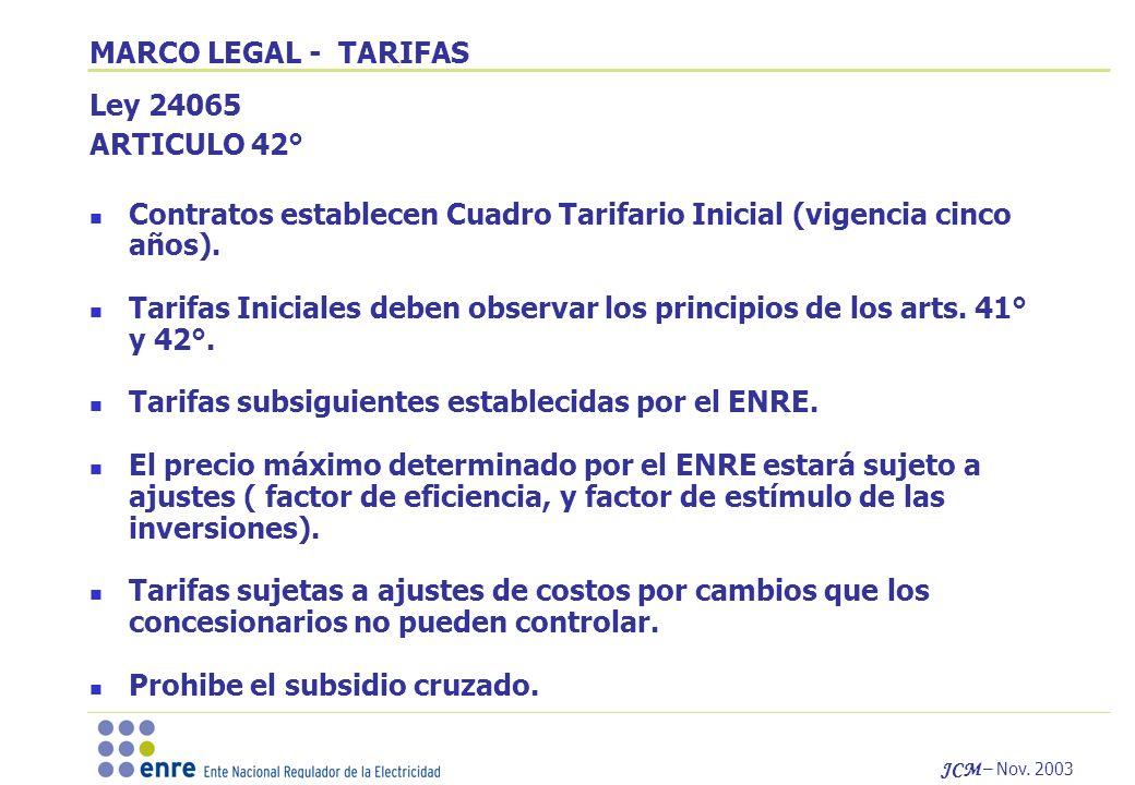 JCM – Nov. 2003 MARCO LEGAL - TARIFAS Ley 24065 ARTICULO 42° Contratos establecen Cuadro Tarifario Inicial (vigencia cinco años). Tarifas Iniciales de