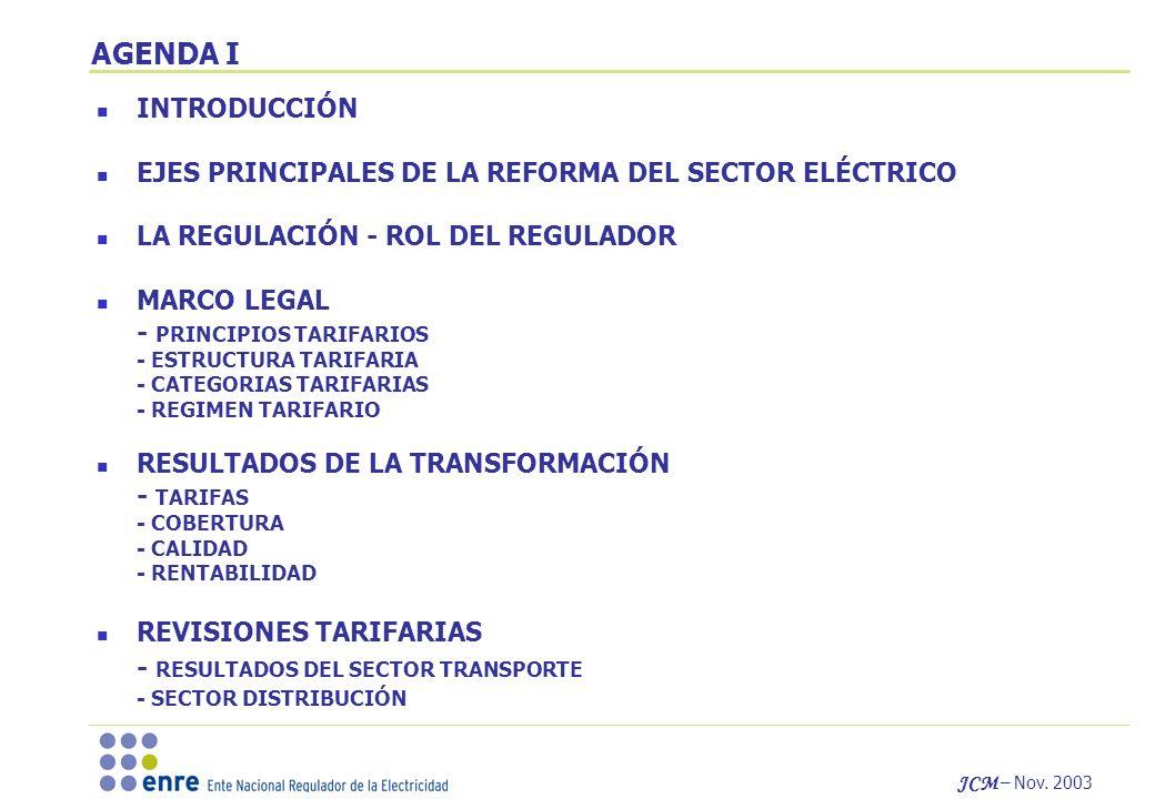 JCM – Nov. 2003 AGENDA I INTRODUCCIÓN EJES PRINCIPALES DE LA REFORMA DEL SECTOR ELÉCTRICO LA REGULACIÓN - ROL DEL REGULADOR MARCO LEGAL - PRINCIPIOS T