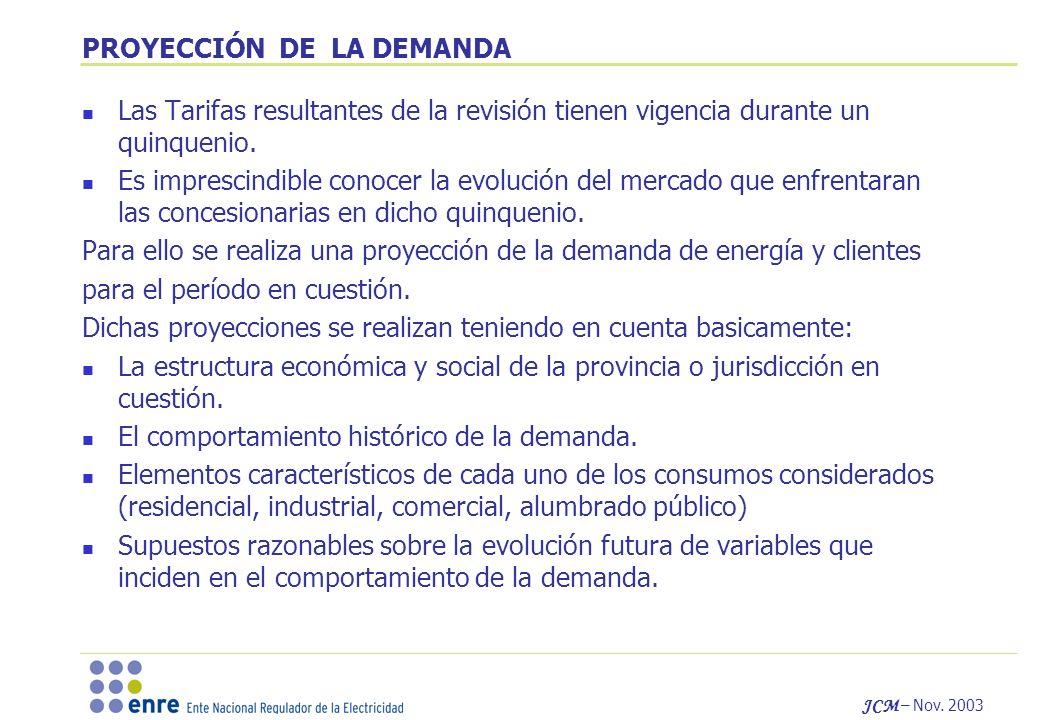 JCM – Nov. 2003 PROYECCIÓN DE LA DEMANDA Las Tarifas resultantes de la revisión tienen vigencia durante un quinquenio. Es imprescindible conocer la ev
