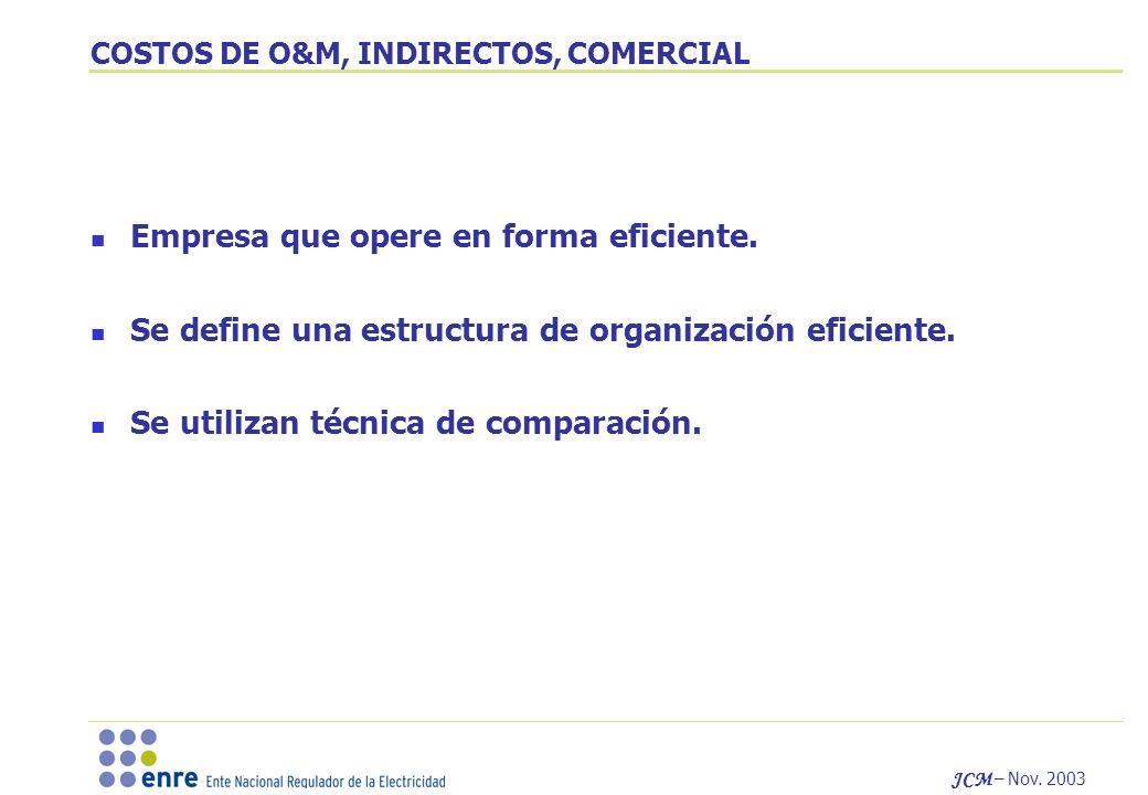 JCM – Nov. 2003 COSTOS DE O&M, INDIRECTOS, COMERCIAL Empresa que opere en forma eficiente. Se define una estructura de organización eficiente. Se util