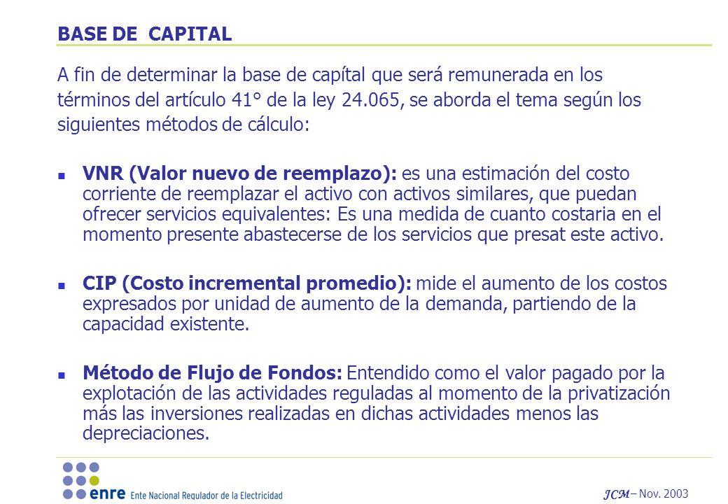JCM – Nov. 2003 BASE DE CAPITAL A fin de determinar la base de capítal que será remunerada en los términos del artículo 41° de la ley 24.065, se abord
