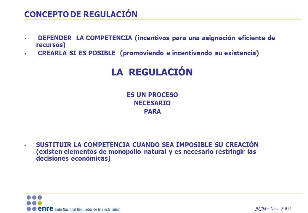 JCM – Nov. 2003 CONCEPTO DE REGULACIÓN DEFENDER LA COMPETENCIA (incentivos para una asignación eficiente de recursos) CREARLA SI ES POSIBLE (promovien