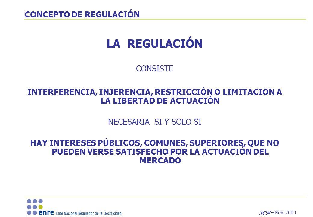 JCM – Nov. 2003 CONCEPTO DE REGULACIÓN LA REGULACIÓN CONSISTE INTERFERENCIA, INJERENCIA, RESTRICCIÓN O LIMITACION A LA LIBERTAD DE ACTUACIÓN NECESARIA