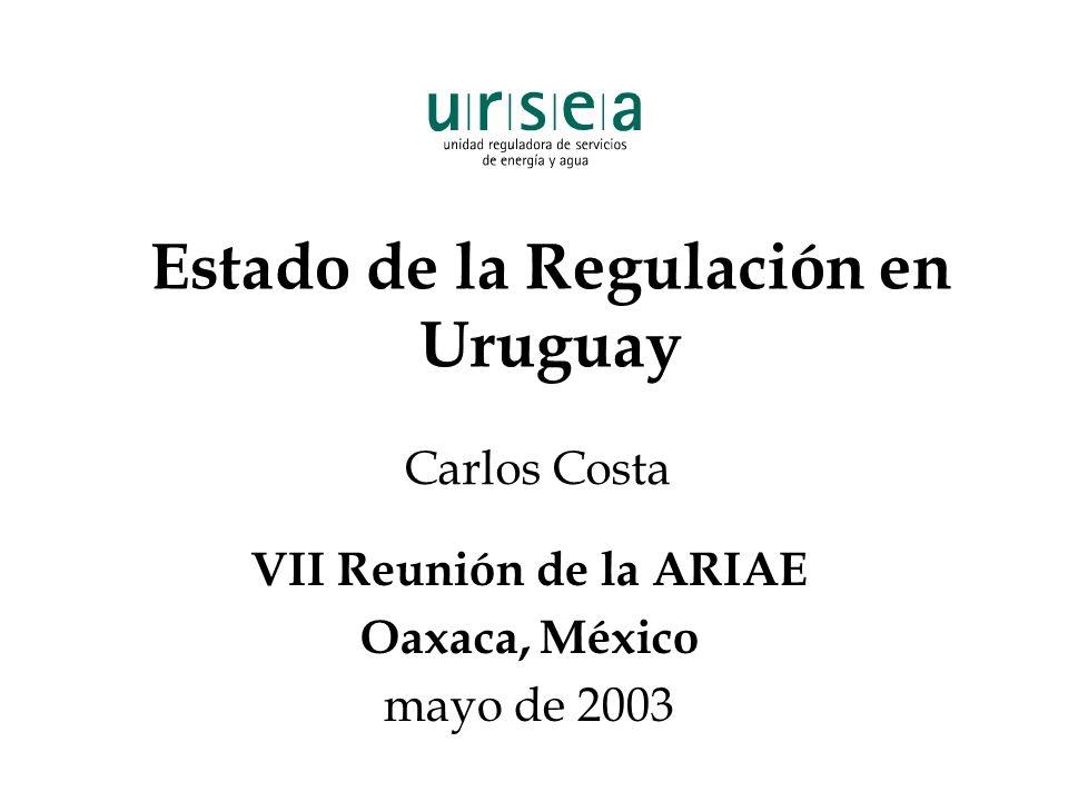 Estado de la Regulación en Uruguay VII Reunión de la ARIAE Oaxaca, México mayo de 2003 Carlos Costa
